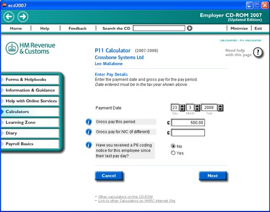 HMRC 'enter pay details' from the CD-ROM
