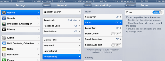 iPhone Accessibility Settings